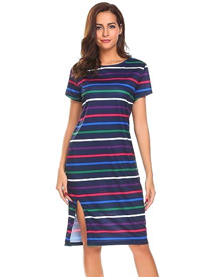 32c4c42cb9a8 Beyove Women s Casual Loose Dress Short Sleeve Striped T Shirt Dress Purple  L  Amazon.in  Clothing   Accessories