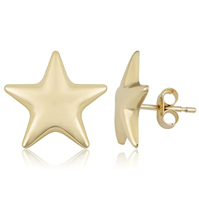 5500bcc32 Image Unavailable. Image not available for. Color: 14k Yellow Gold Star  Stud Earrings