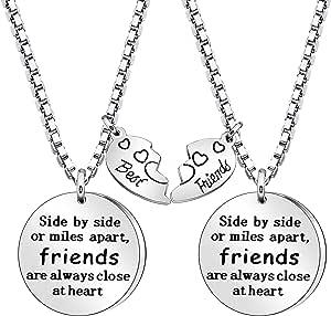 Coagurmes Juego de 2 collares BFF para mejores amigos de larga distancia, regalos de amistad, no importa dónde cumpleaños, graduación, año nuevo, regalo de Navidad
