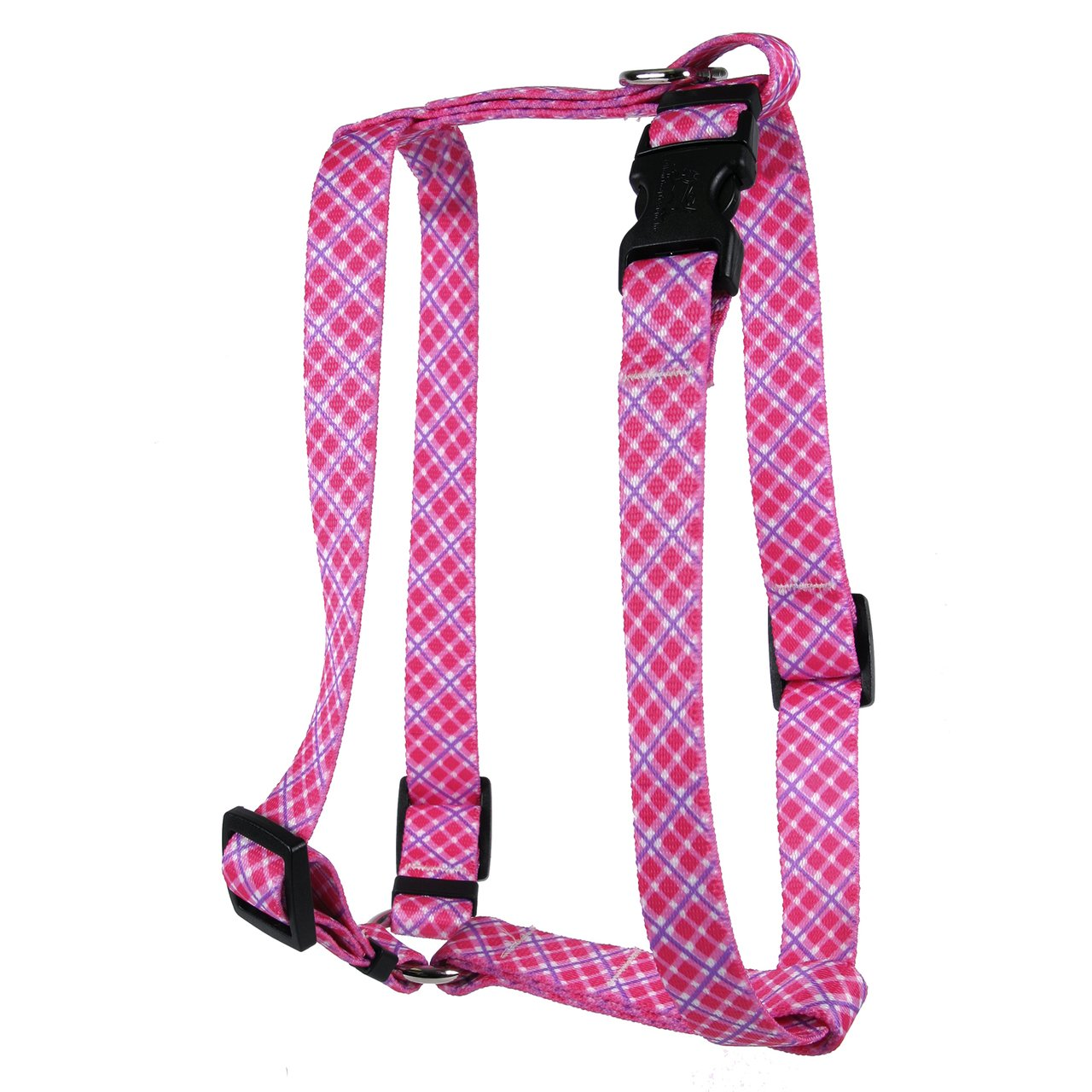 Yellow Dog Design Pink Purple Diagonal Plaid Roman H Harness, Small/Medium-3/4 Wide fits Chest of 14 to 20''