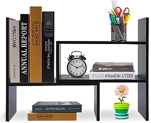 Hossejoy Wood Adjustable Desktop Storage Organizer Display Shelf Rack, Office Supplies Desk Organizer,Black