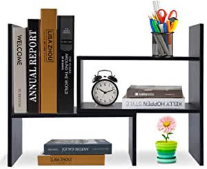 Hossejoy Wood Adjustable Desktop Storage Organizer Display Shelf Rack, Office Supplies Desk Organizer,Black