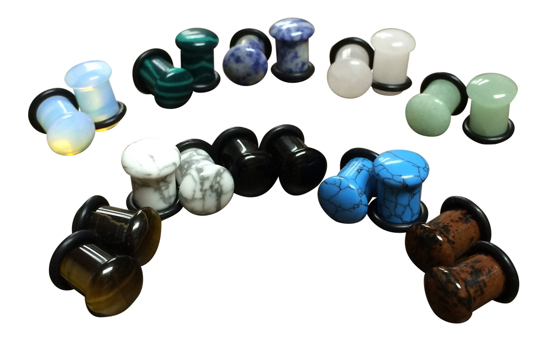 -ALL 10 PAIR- Stone Plugs Organic Single Flare with O-rings Ear Gauges Body Jewelry (lot 1) (2g (6mm) )