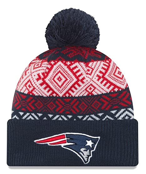 buy online 1a7d6 c1496 Image Unavailable. Image not available for. Color  New England Patriots New  Era NFL  quot Retro Pom quot  Cuffed Knit Hat with Pom