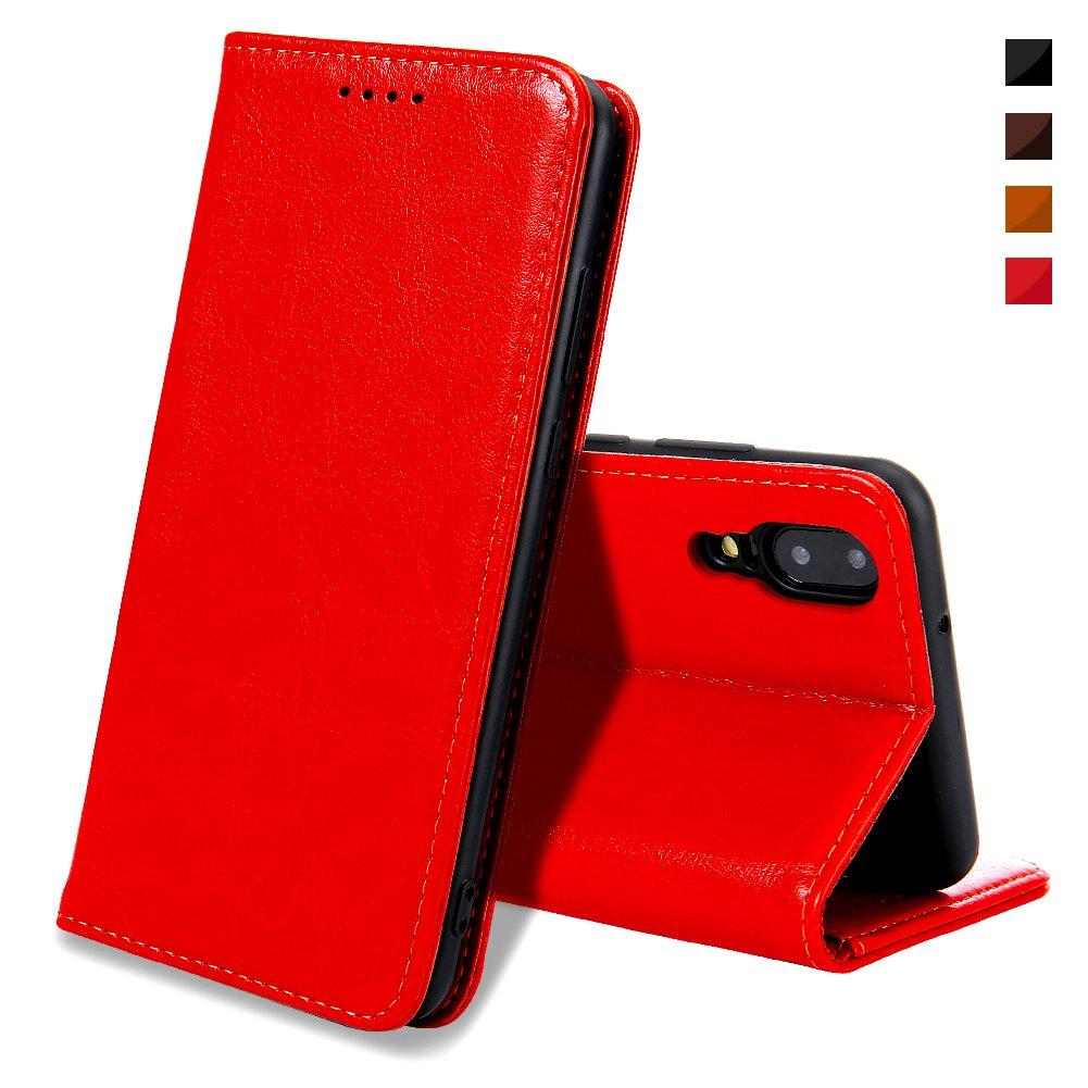 Coque Huawei P20, Housse Huawei P20, EATCYE [Ultra Mince] Premium Étui [En Cuir Véritable] 360 Protection Complète [Antichoc TPU] Cuir Housse à Rabat Portefeuille Poids-Plume [Caché Fermoir Magnétique] pour Huawei P20 (Rouge) m2018627DE10001
