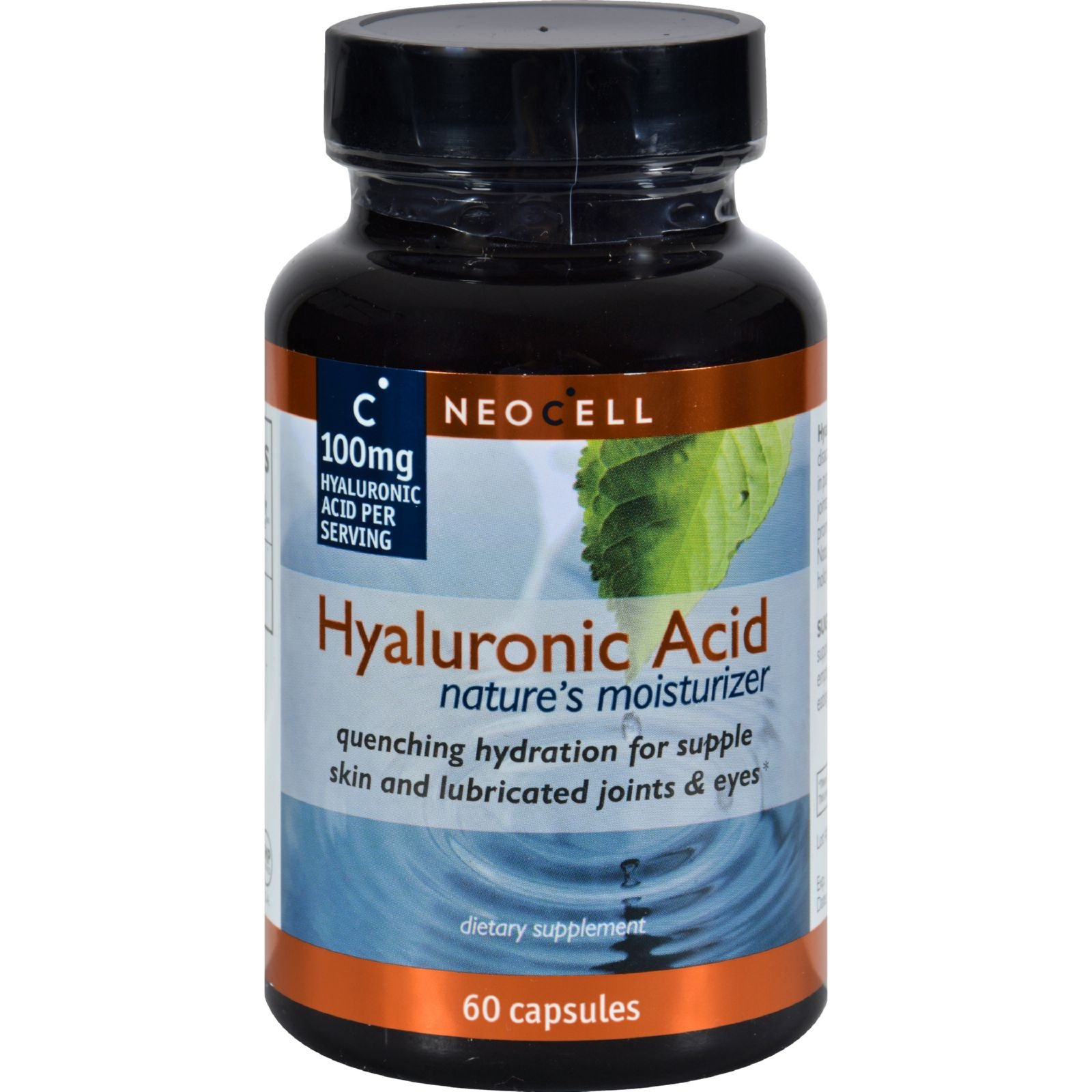NeoCell Hyaluronic Acid - Essential lubricant of healthy joints, skin, and eyes - Gluten Free - 60 Capsules (Pack of 2)