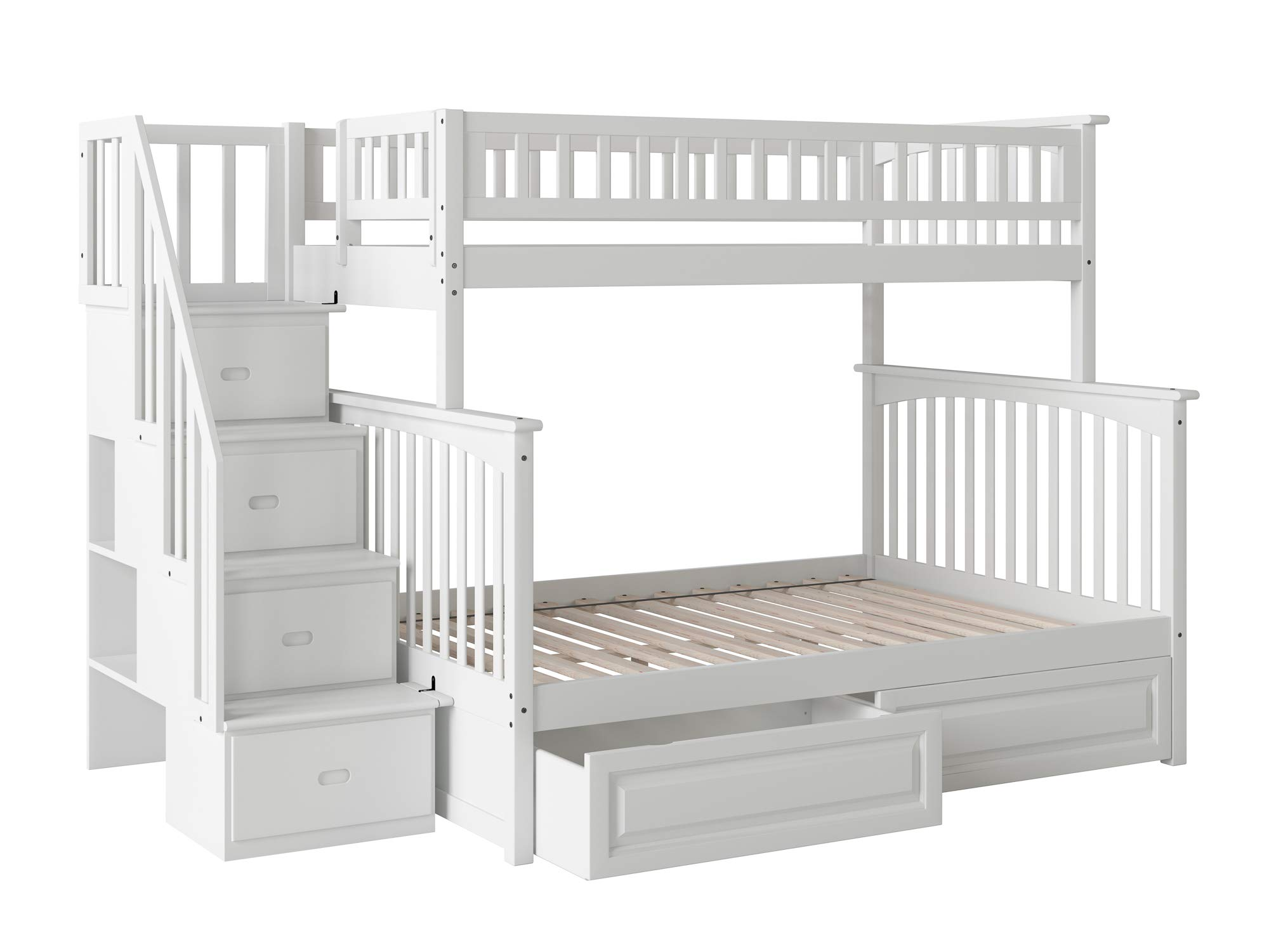 Atlantic Furniture Columbia Staircase Bunk Bed with Raised Panel Bed Drawers, Twin/Full, White by Atlantic Furniture