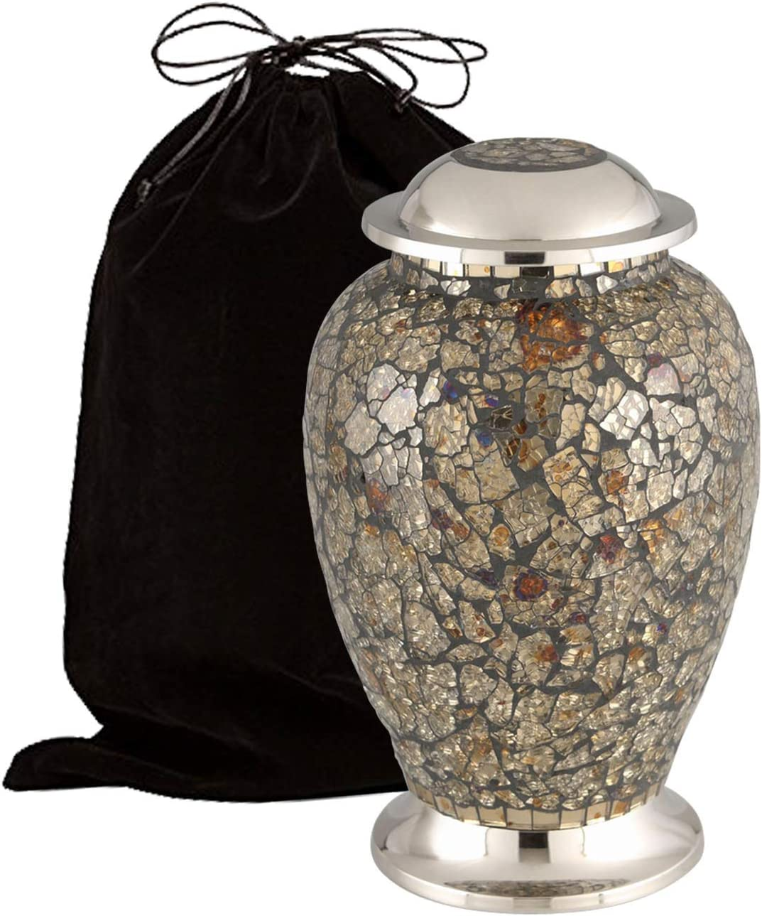 Eternitymart Mosaic Cracked Glass Cremation Urn for Human Ashes - Adult Funeral Urn Handcrafted - Affordable Urn for Ashes - Large Urn Deal. (Gray Blue Yellow)