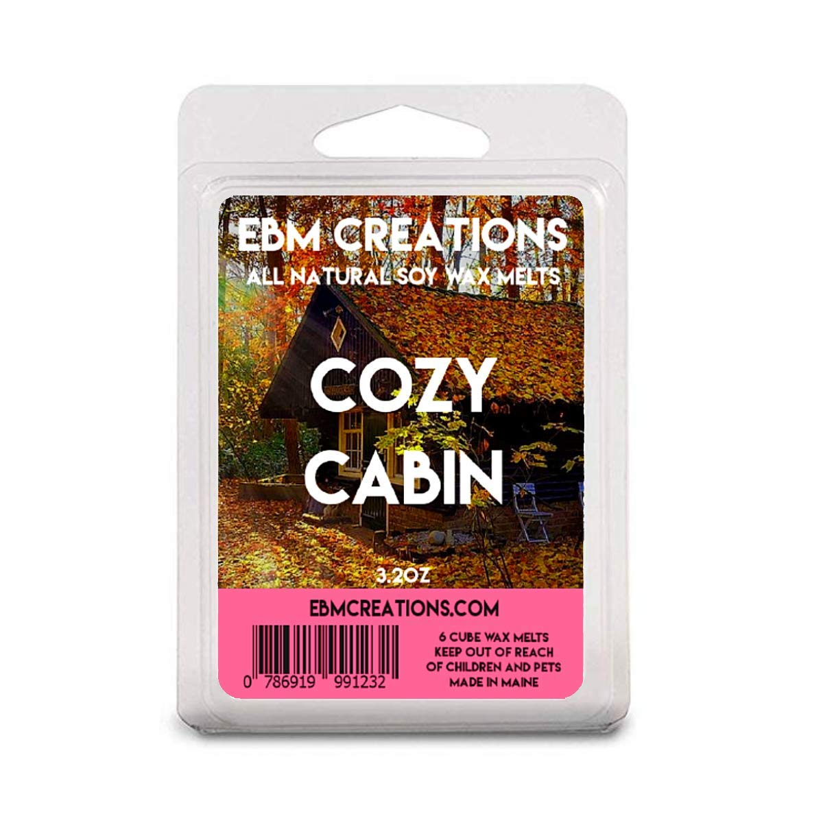 Cozy Cabin - Scented All Natural Soy Wax Melts - 6 Cube Clamshell 3.2oz Highly Scented!