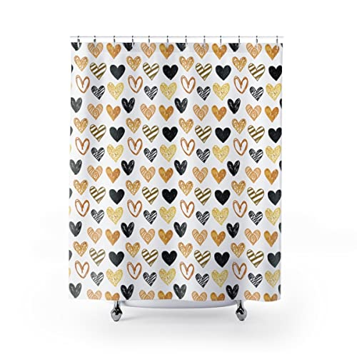 Heart Pattern Shower Curtain Black And Gold Hand Drawn Hearts Glitter