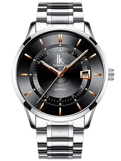 Alienwork Reloj Mecánico Automático Relojes Automáticos Hombre Mujer Acero Inoxidable Plata Analógicos Unisex Calendario Fecha Negro