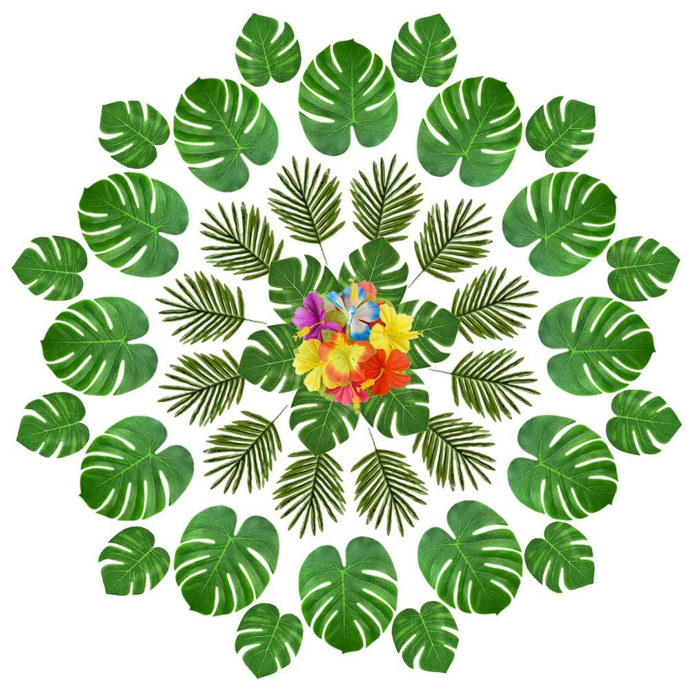 FEPITO 90 Pcs Feuilles tropicales artificielles pour les dé corations de fê te hawaï enne, artificielle Faux Tropical Palmtera feuilles Hibiscus fleurs pour Aloha Jungle Safari anniversaire Tropical Luau fournitures de fê te d&eacut
