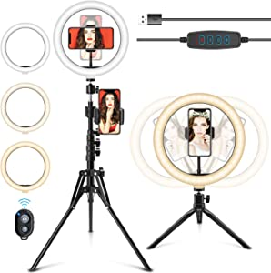 Selfie Ring Light with Stand, 10.2'' LED Ring Light with Stand & Phone Holder Camera Desktop Phone Ringlight with Tripod Selfie Light Ring for iPhone/Laptop/Video Recording/Makeup/YouTube/TikTok