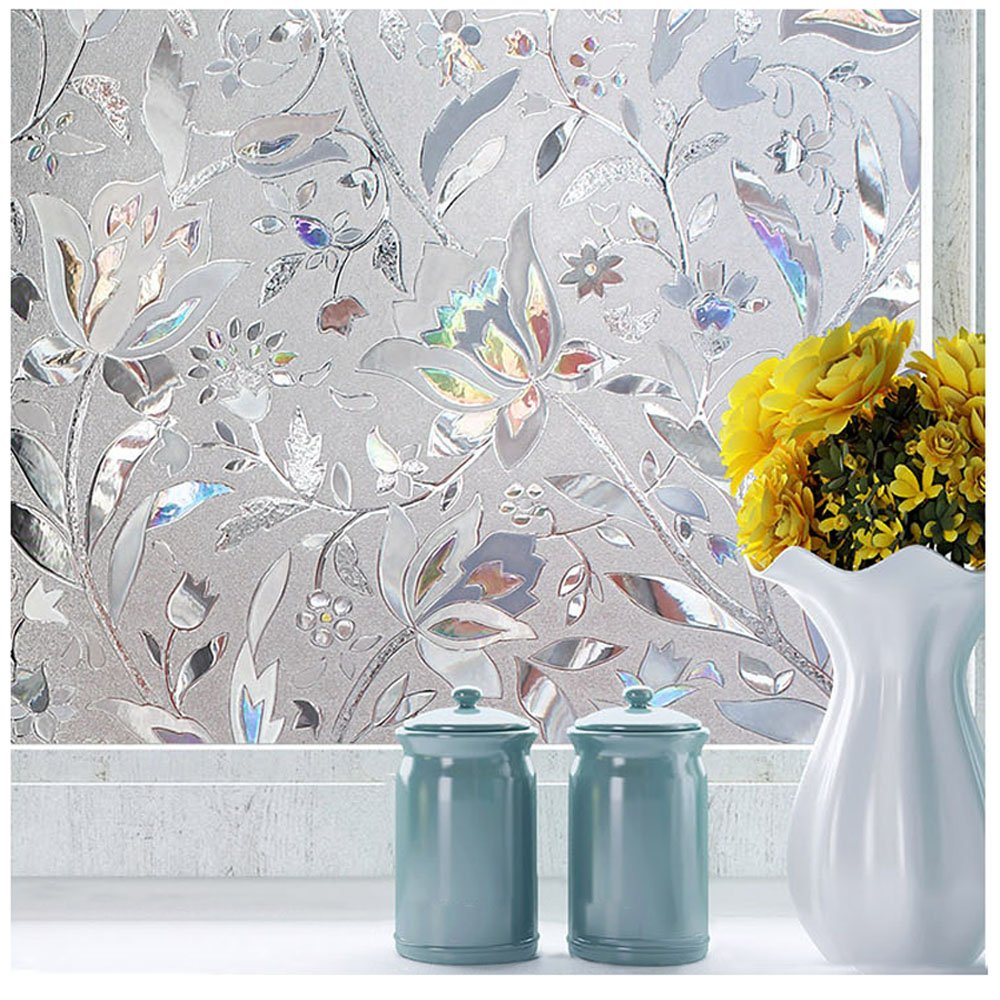 Decorative Window Cling Door Film For Glass Window Etching Peel And
