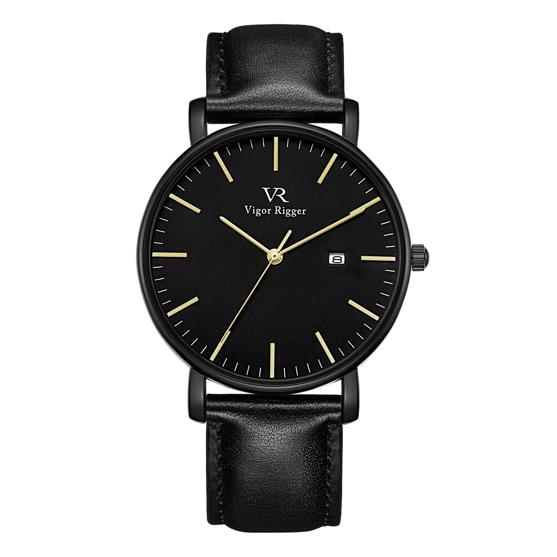 Vigor Rigger Men's Leather Stainless Steel Slim Quartz Watch 30M Waterproof Black Wristwatch