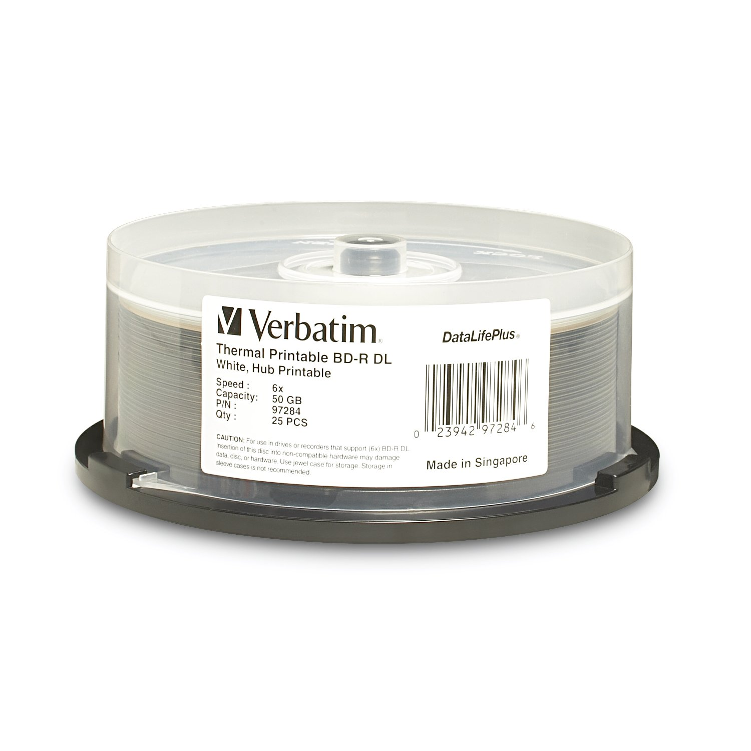 Verbatim BD-R 25GB 6X DataLifePlus White Inkjet Printable, Hub Printable - 50pk Spindle VERBATIM CORPORATION 97339 Blank Media & Cleaning Cartridges