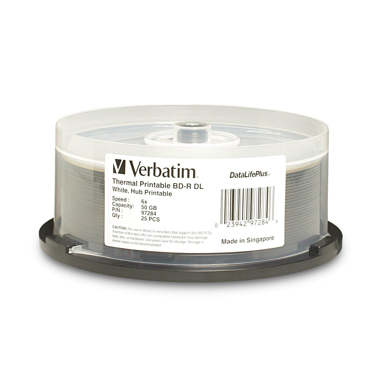 Verbatim BD-R DL 50GB 6X DataLifePlus White Thermal Printable, Hub Printable - 25pk Spindle 97284 by Verbatim