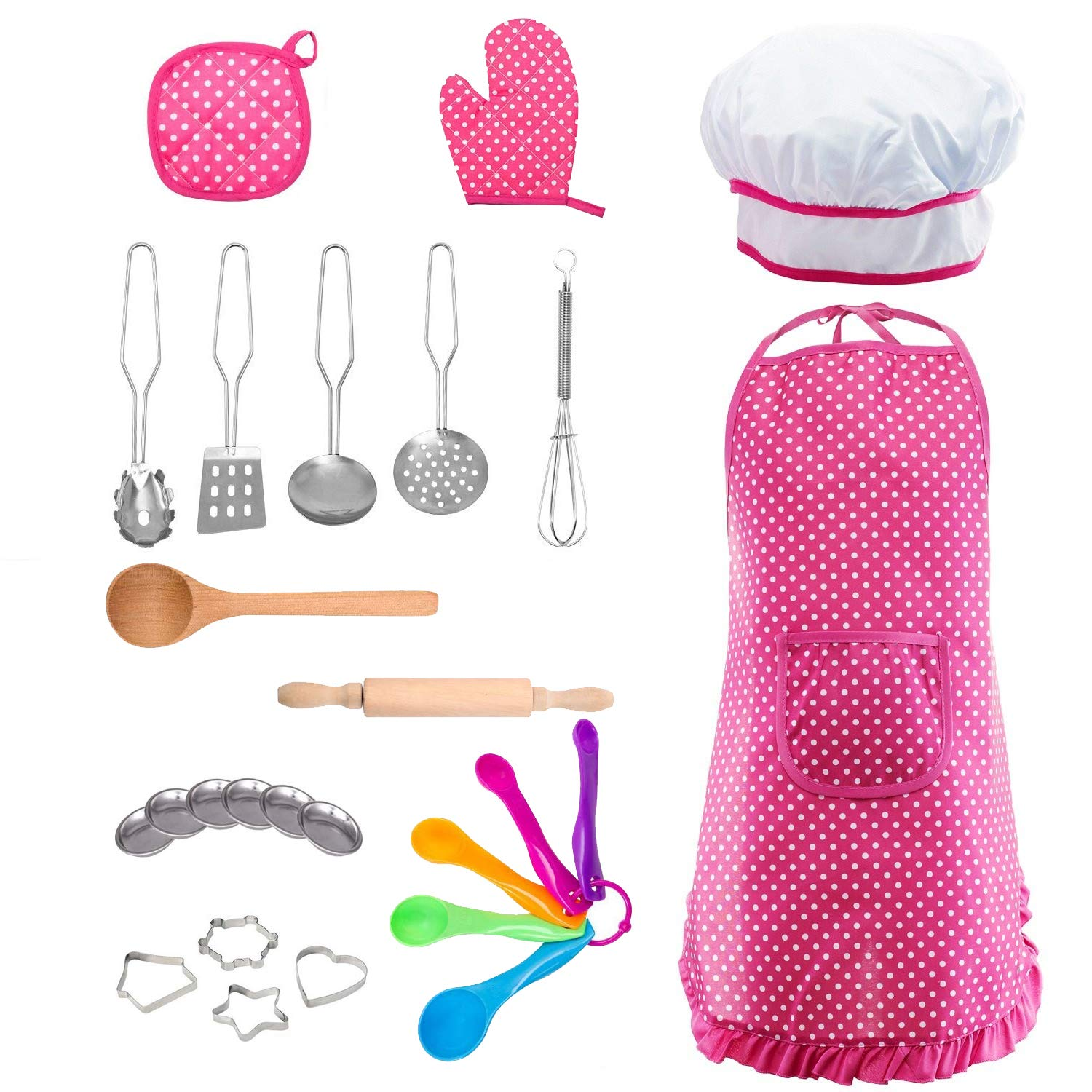 Kids Cooking and Baking Chef Set - 24 Pcs Includes Apron, Chef Hat, Oven Mitt, Pot Holders, Plates, Rolling Pin, Spoon, Cookie Cutters & Baking Utensil for Girls Age 2 3 4 5 6 + Years Old Kids Toys