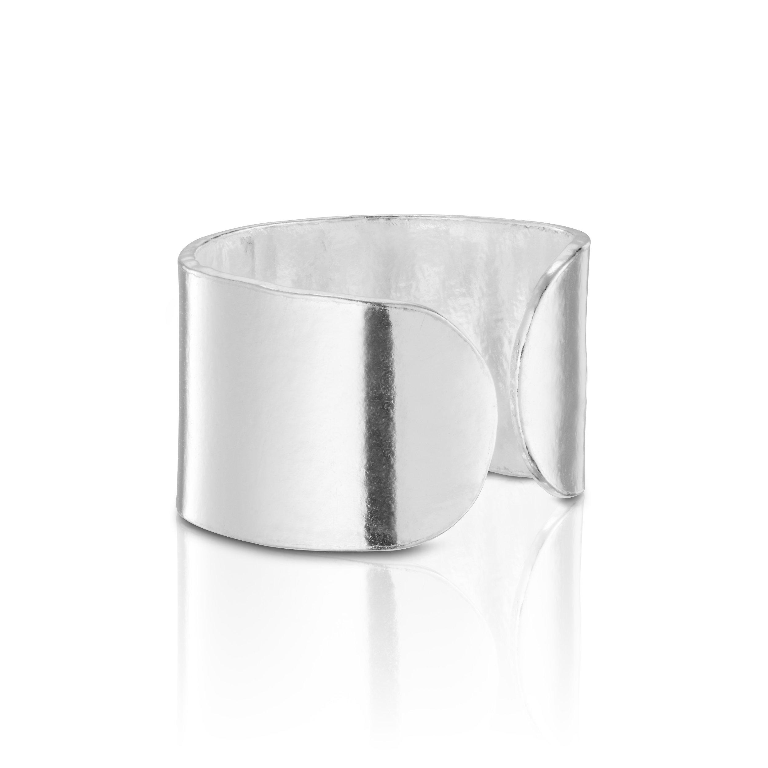 925 Sterling Silver Wide Round Silver Top Ear Cuff Ear For 1 Ear Earring by BELLETTOJEWELRY (Image #2)