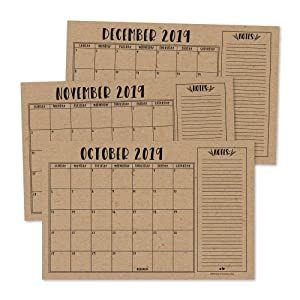 Rustic 2019-2020 Large Monthly Desk or Wall Calendar Planner, Big Giant Planning Blotter Pad, 18 Month Academic Desktop, Hanging 2-Year Date Notepad Teacher, Mom Family Home Business Office 11x17""