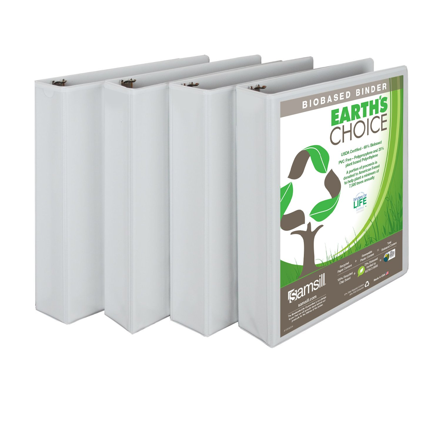 Samsill Earth's Choice Biobased View Binder, 3 Ring Binder, 1.5 Inch, Round Ring, Customizable, White, 4 Pack