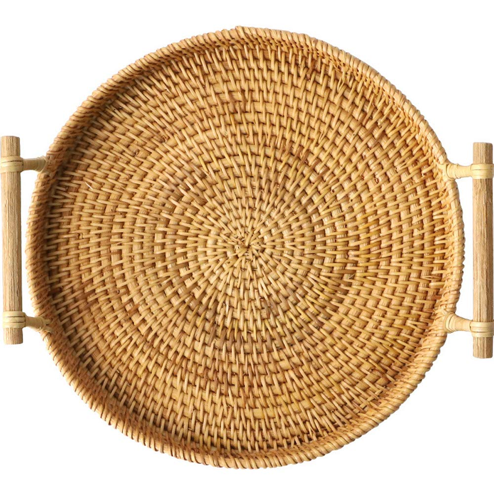 FREELOVE Manual Rattan Bread Basket/Fruit Tray, Round (9.4 in.) by FREELOVE (Image #1)