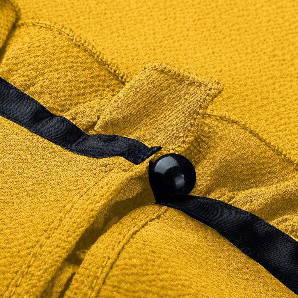 YWLINK Damen Schluppenbluse Freizeit Kappenh/üLse T Shirt M/äDchen Krawatte R/üSchen Volltonfarbe Stehkragen S/ü/ß Chiffon Blusen Klassisch Oberteile
