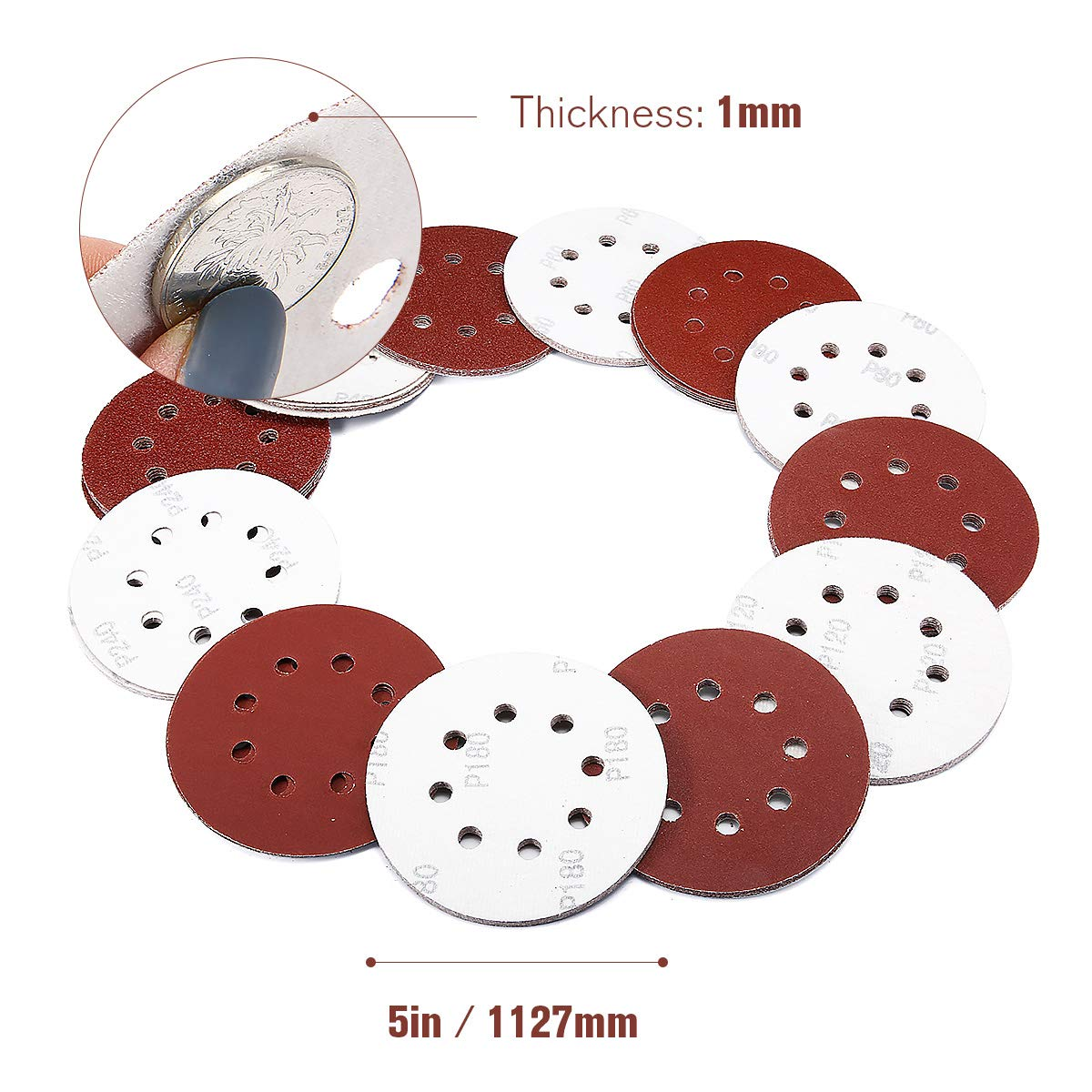 Jeteven 6 inch 60 Pcs 80-400 Grit Sanding Discs Pad Sander Paper Discs for Cleaning and Polishing