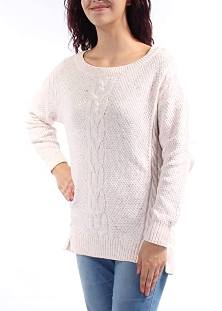 13f9565b Tommy Hilfiger Womens Mara Cable-Knit Pullover Sweater XL Snow White Pink  at Amazon Women's Clothing store: