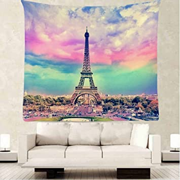 OFloral Paris Eiffel Tower Tapestry Wall Decor By, Vintage Colorful Eiffel  Tower Design Bedroom Living