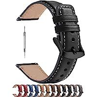 Fullmosa 6 kleuren gepolijste horlogeband 22mm, leren armband YOLA met D-vormige gesp voor dames en heren, 22mm Zwart…