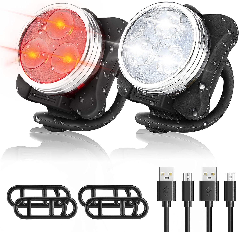 WOTEK Luces Bicicleta Recargable USB, IPX5 4 Modos Luces Bicicleta Delantera y Trasera Linterna Bicicleta Impermeable para Ciclismo Carretera y Montaña para la Noche