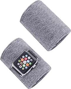 Sweatband for Apple Watch 38mm 40mmm Sports Strap Wristbands for Iwatch Series 5 4 3 2 1 Watchband Belt Cotton Armband for Sports Lovers (Gray, 38mm 40mm)