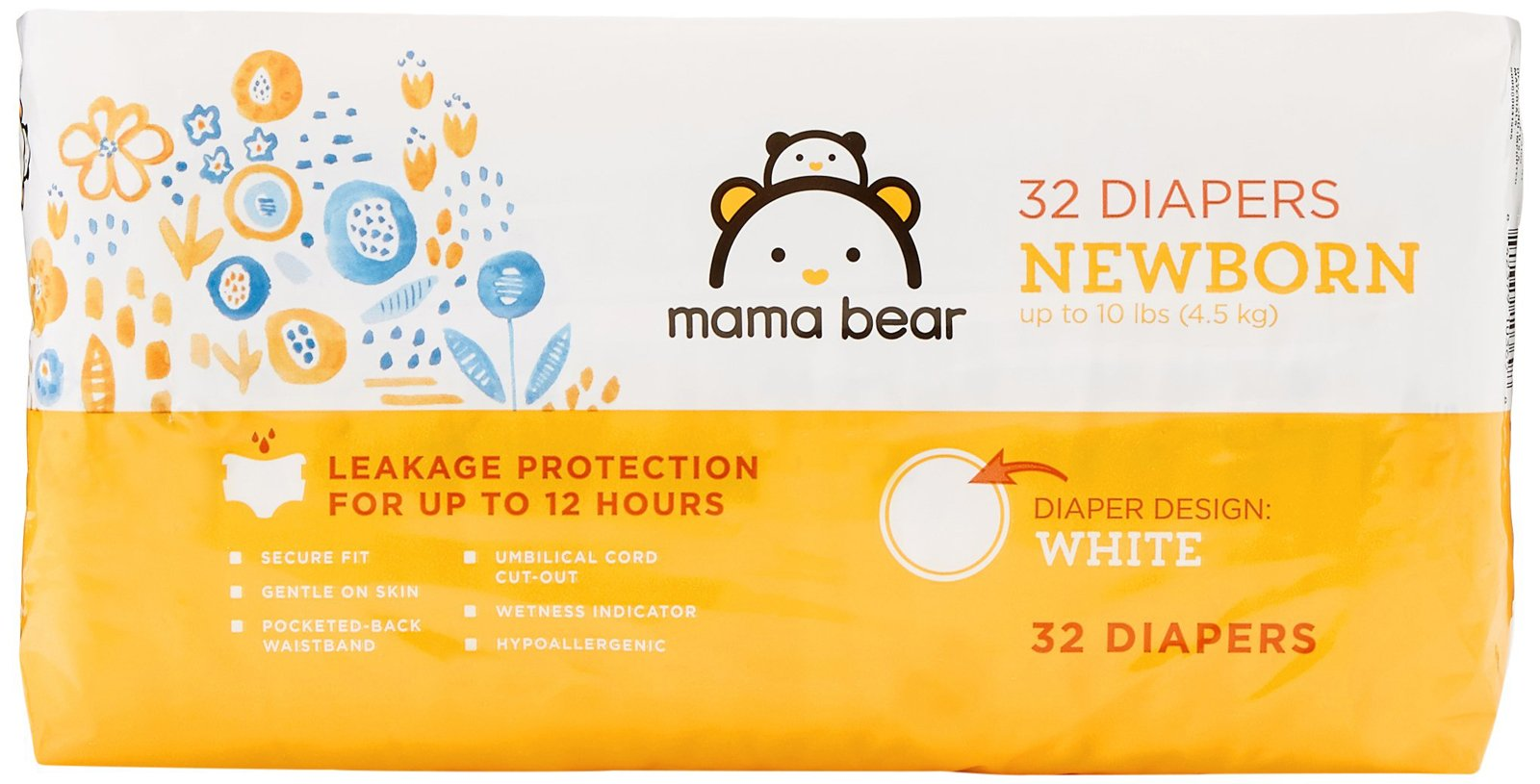 Amazon Brand - Mama Bear Diapers, Newborn, 32 Count, White Print