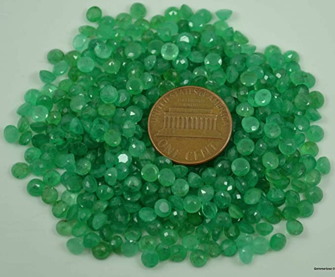 3-4mm Details about  /Emerald Faceted Round Stones Natural Loose Emerald Gemstone For Jewelry