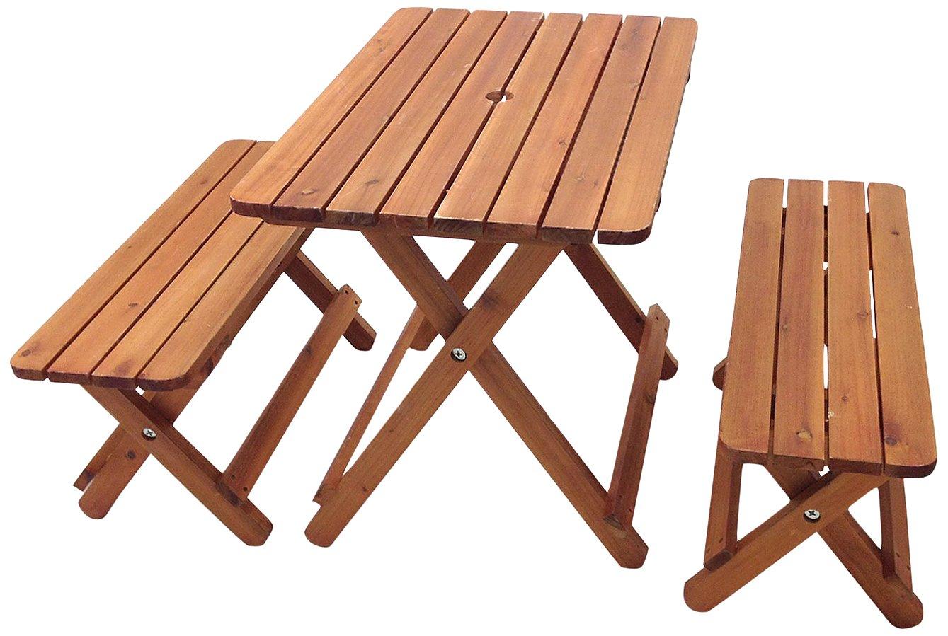 武田コーポレーション 【キャンプガーデンガーデニングカントリー風テーブルベンチ】 折りたたみ式 木製 テーブル & ベンチ 3点セット (テーブル天板:78×52) TR-01 B00OLW35QY  木製