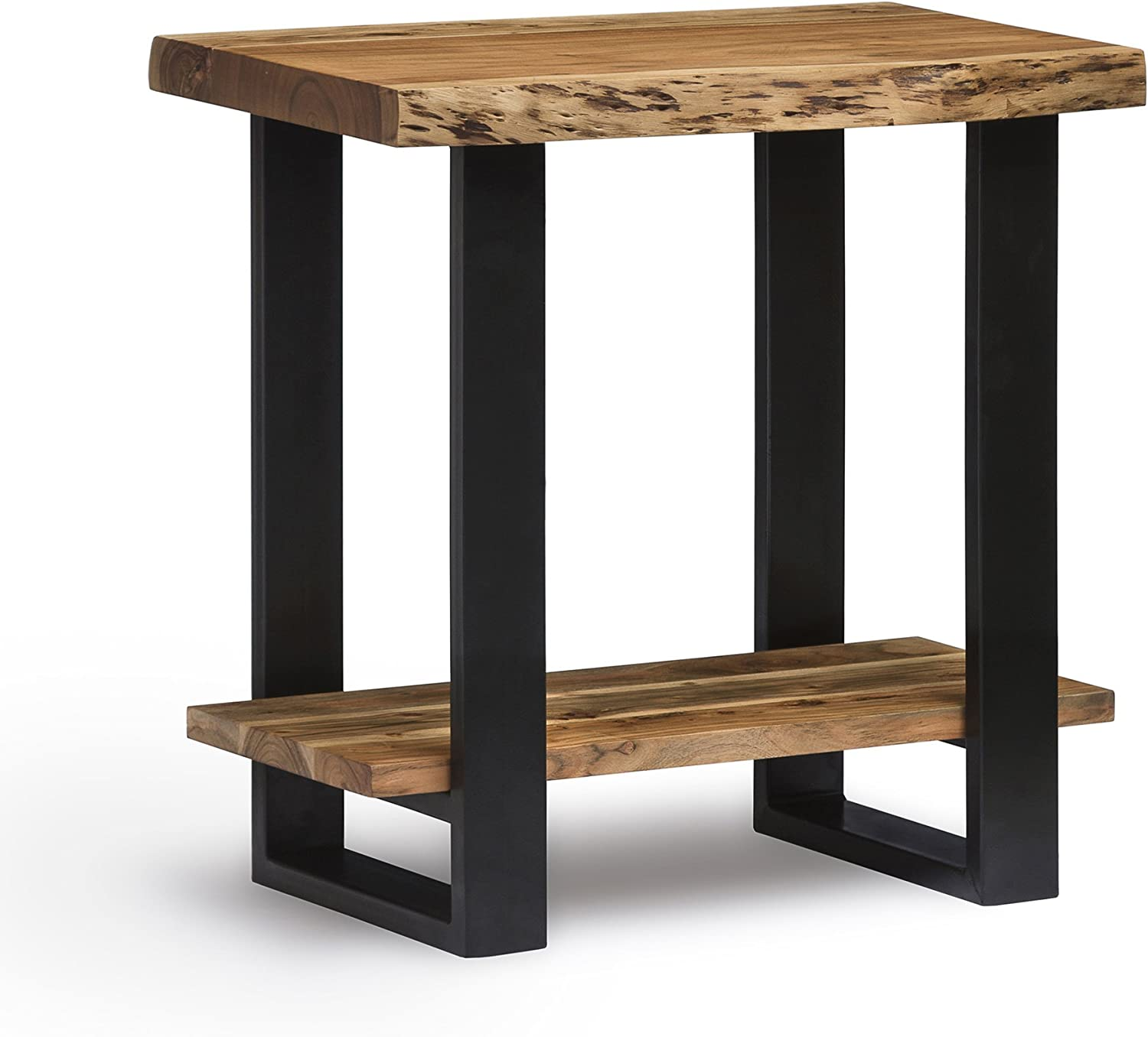 Alpine Live Edge Solid Wood End Table, Natural