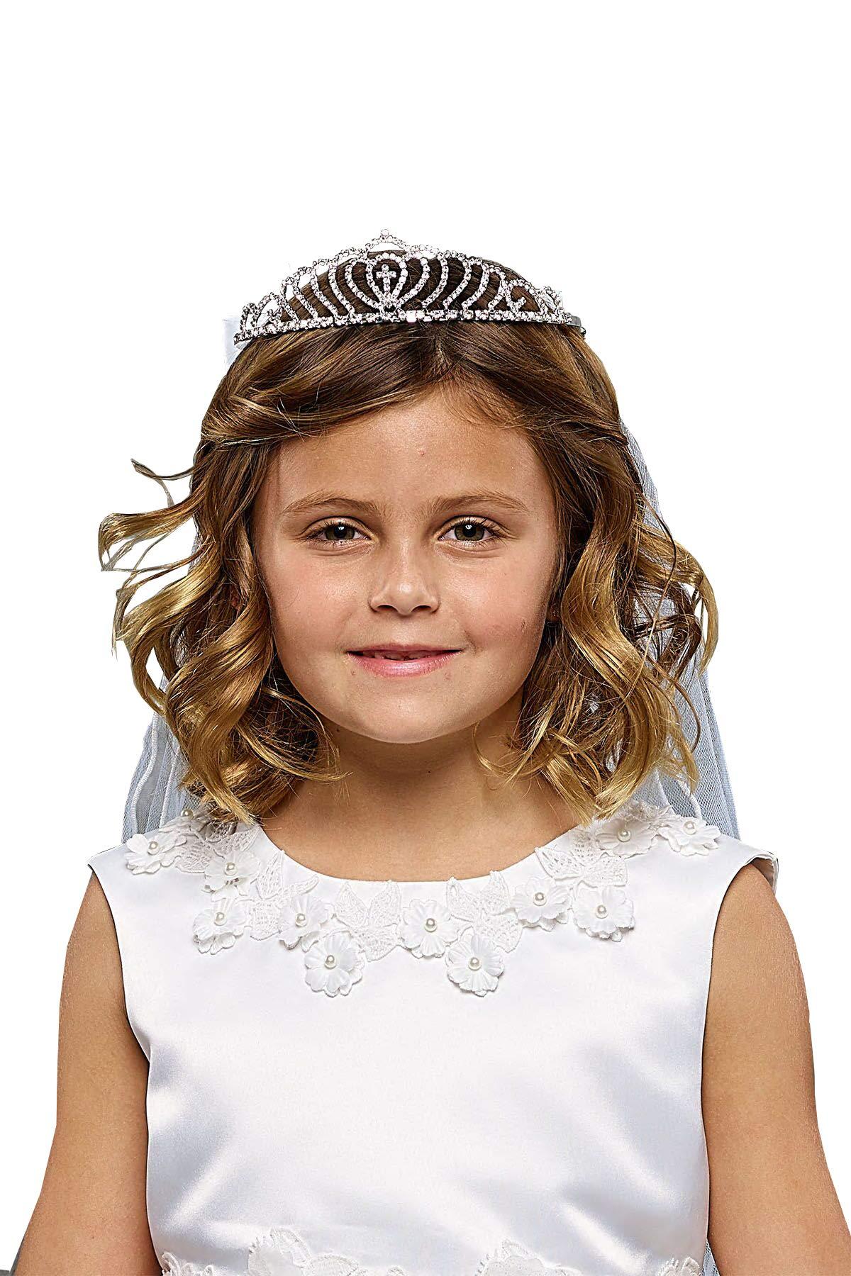 Girls' First Communion Rhinestone Crown Veils 031