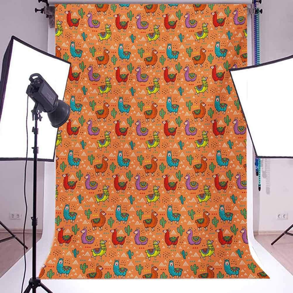 Cactus 10x15 FT Backdrop Photographers,Colorful Alpacas in Mexico Latino Foliage Curved Lines Children Cartoon Characters Background for Child Baby Shower Photo Vinyl Studio Prop Photobooth Photoshoot