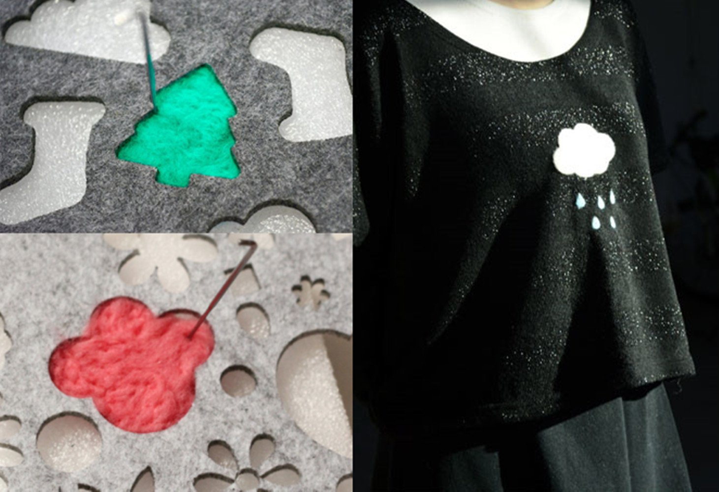 Hyamass 13pcs Multi Shape Lovely Pattern DIY Felt Template Needle Felting Applique Mold Felting Stencil Craft Tool