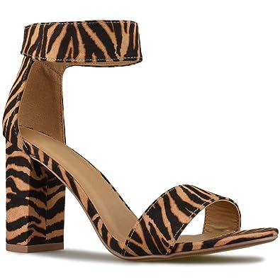 acafde480a0 Premier Standard - Women's Comfort High Heel Sandal - One Band Open Toe  Ankle Strap Sexy Dress Chunky Block Heel - Stiletto Sandals