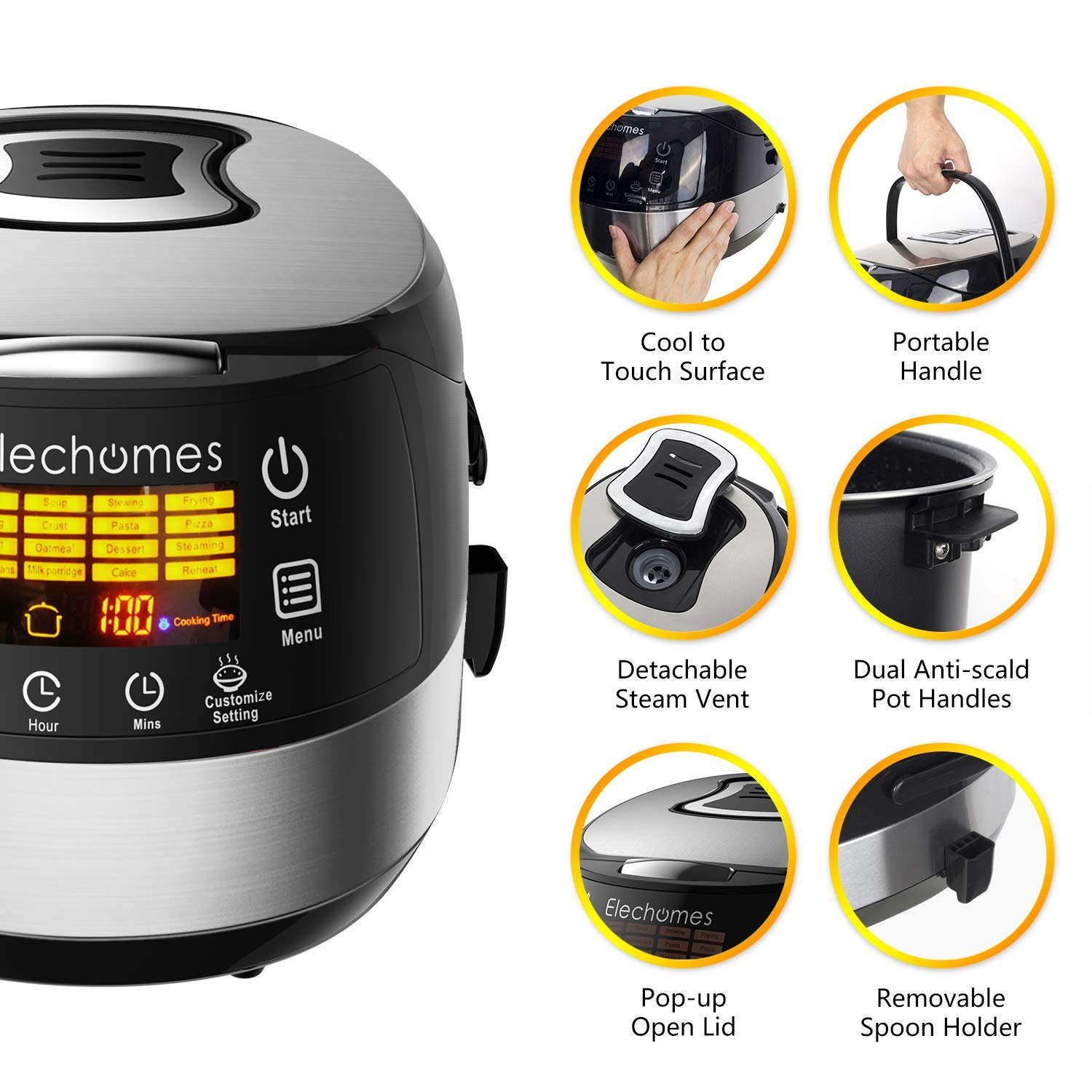 Elechomes LED Touch Control Rice Cooker, 16-in-1 Multi-function Cooker, 10-Cups Uncooked Warmer Cooker with Steam & Rinse Basket, CR502 by Elechomes (Image #2)