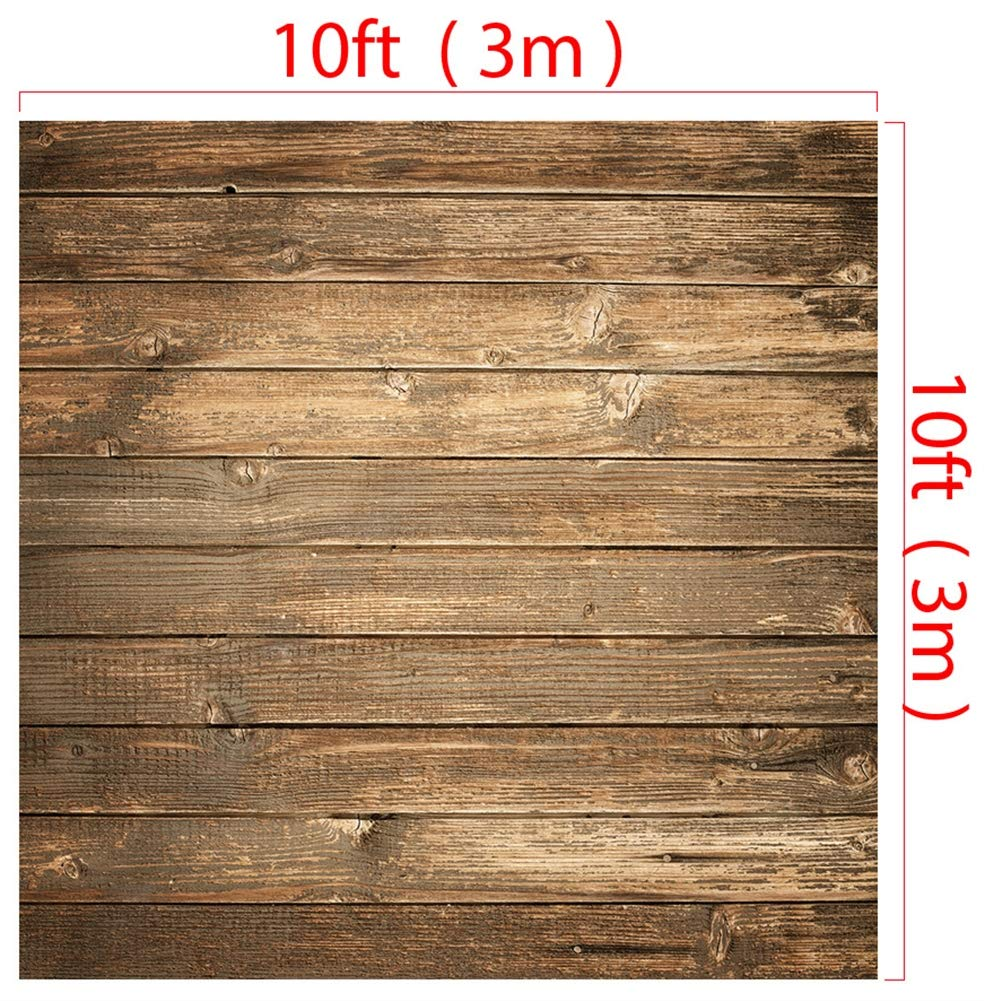 Icegrey 背景 写真 ブラウン ヴィンテージ 木製 壁 背景 写真 背景布 9.8x9.8ft Vintage wooden board B07MCT8BQ9