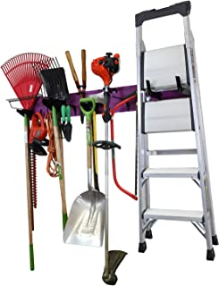 """product image for Wall Control Garage Storage Rack Lawn & Garden Tool Organization Wall Mount Organizer - Easy to Install 64"""" Wide Colorful Purple Metal Peg Board Set (Purple Pegboard)"""