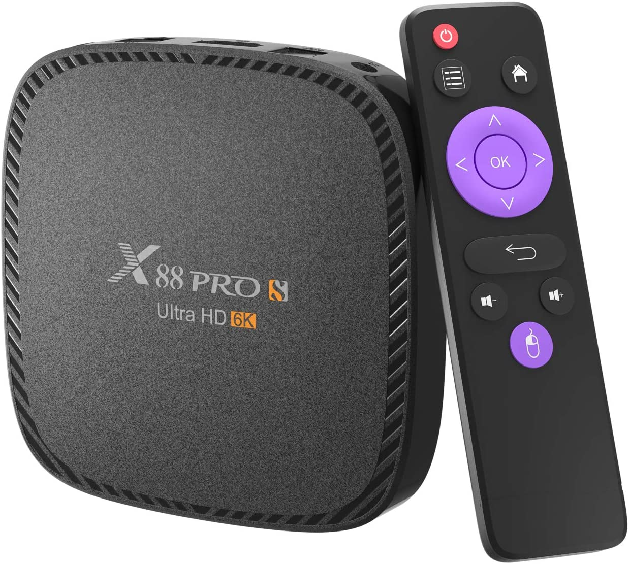 Android 10.0 TV Box X88 PRO S 4GB RAM 128 ROM Allwinner H616 Quad-Core 64-bit Android Box with 2.4G/5G Dual WiFi 10/100M Ethernet, Support H.265/3D/6K Ultra HD/BT 5.0/HDMI 2.0 Smart TV Box