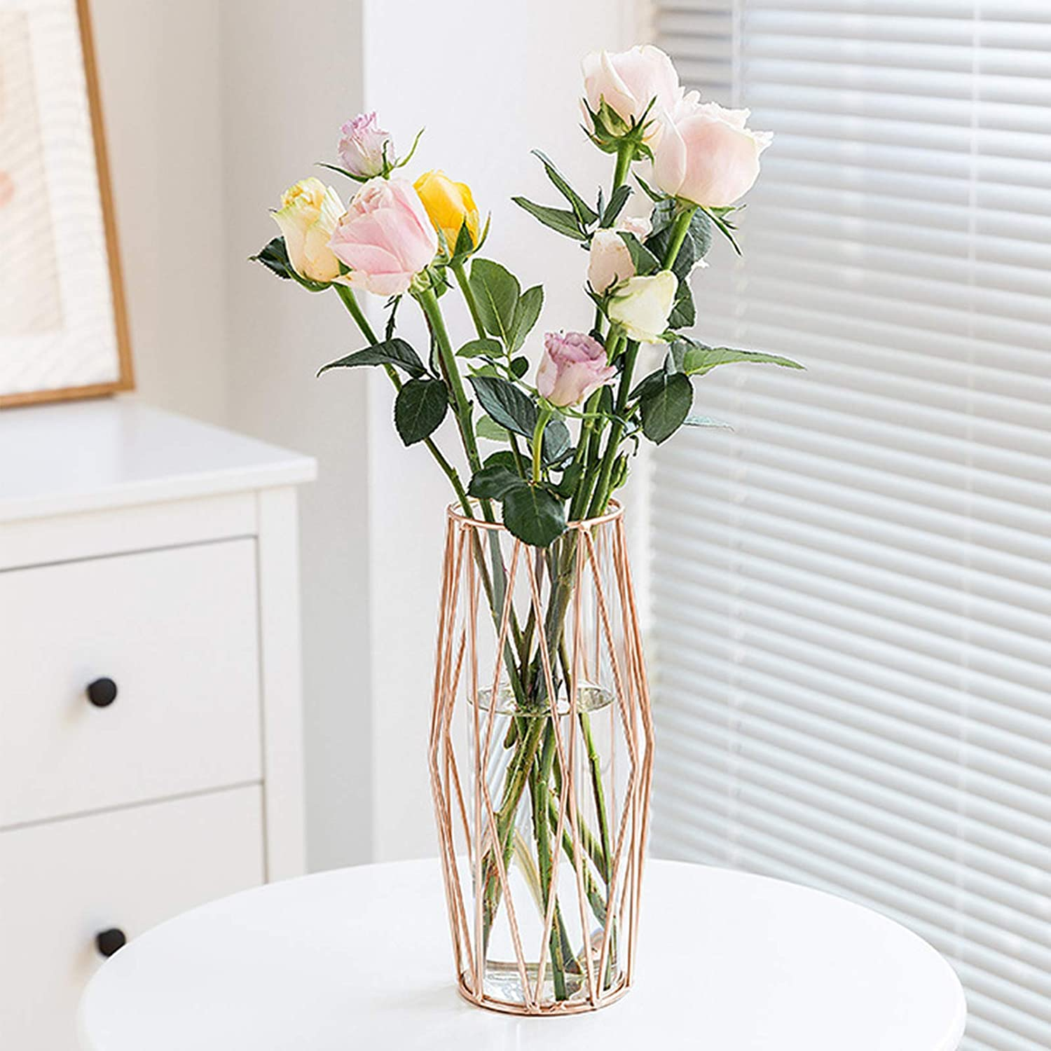 Gelible Geometric Glass Flower Vase with Metal Holder, Crystal Clear Transparent Planter Flowers Vase,Handcrafted Plating Metal Vase,Clear Vase Decor Home Office Wedding Party and Holiday Celebrate