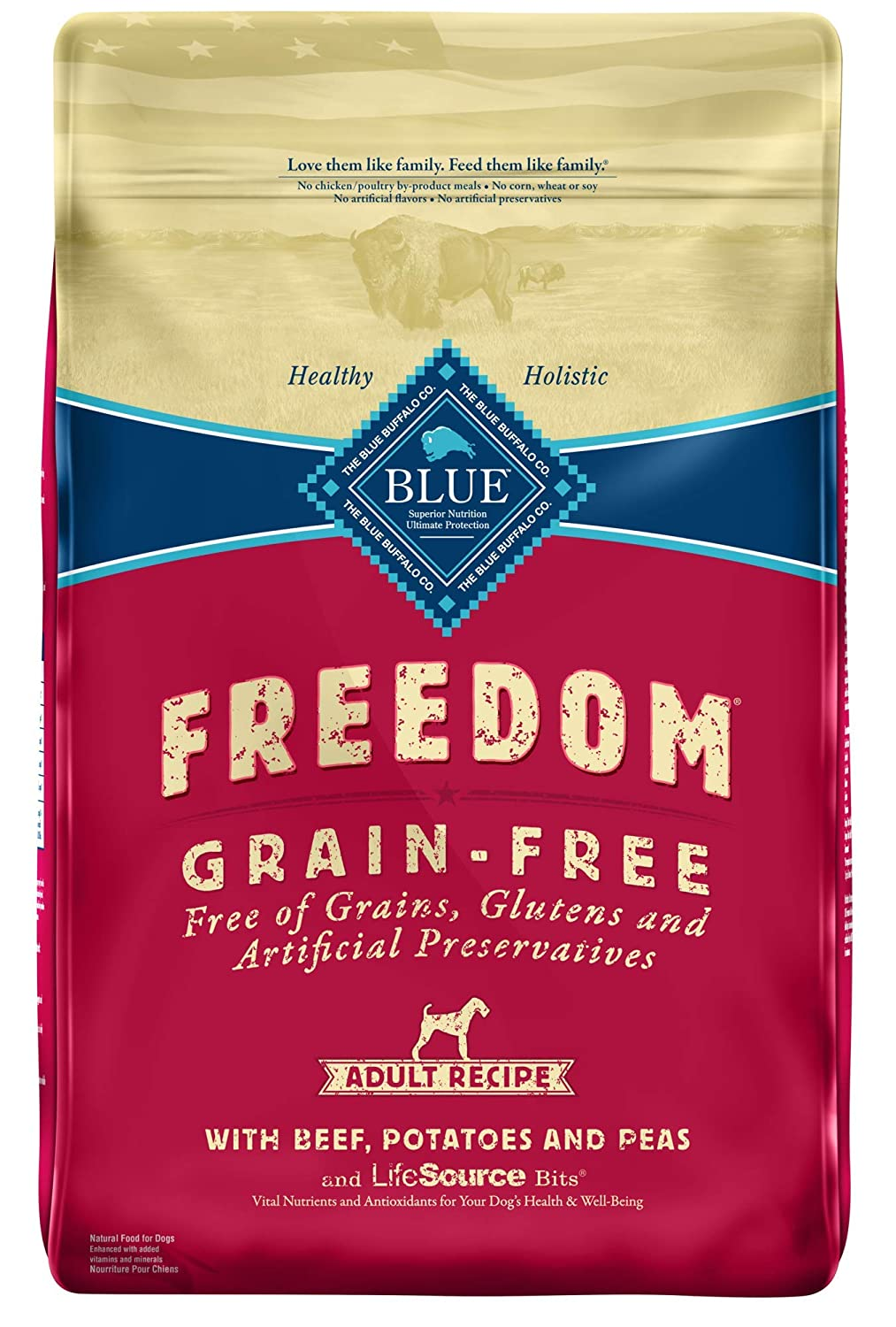 13. Blue Buffalo Freedom Adult Beef Recipe Grain-Free Dry Dog Food