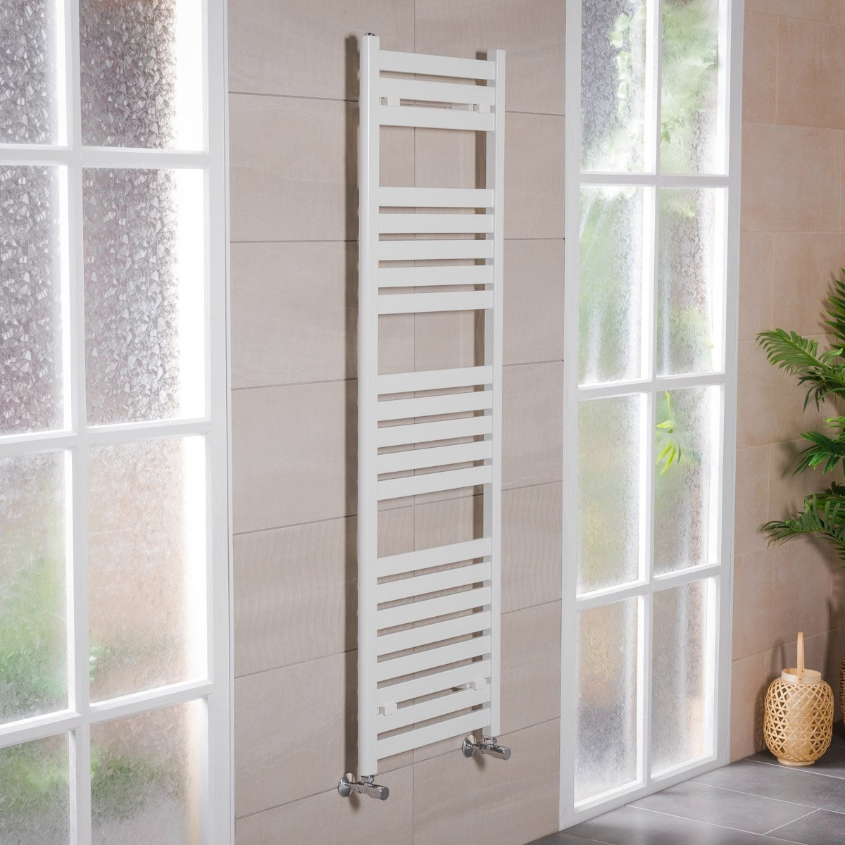 Designer Bathroom Flat Panel Heated Towel Rail Radiator Rad 1600 x 500 White WarmeHaus