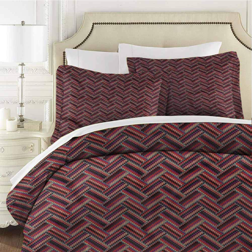 Abstract King Size Sheet Set-3 Piece Set,Comforter Set Bed Comforter Bedding Set Stylish Zig Zag Chevron Easy Care Bedding Cover Light Weight