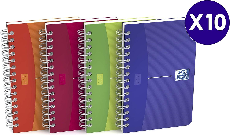 Oxford My colours - Pack de 10 cuadernos doble espiral, tapa plástico translúcido, 9 x 14 cm: Amazon.es: Oficina y papelería